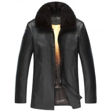 Men Black Fur Collar Leather Jacket